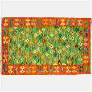 A Turkish Caucasian Kazak Kilim Wool Rug, 20th Century.