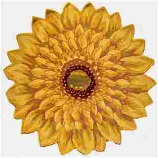Hand Tufted Indo Marigold Flower Design Wool Rug