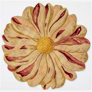 Hand Tufted Indo Flower Design Wool Rug