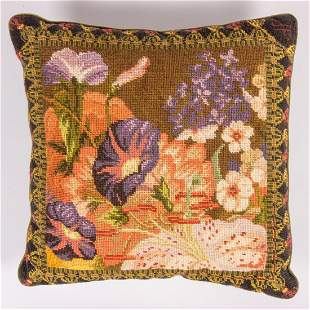 Antique French Needlepoint Pillow