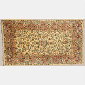 Antique Persian Lavar Kerman Wool Rug