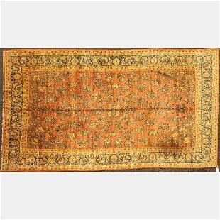 Antique Persian Kashan Wool Rug