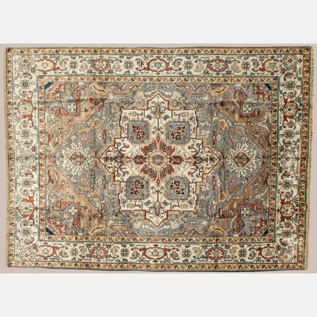 Indo Persian Heriz Serapi Art Silk Rug