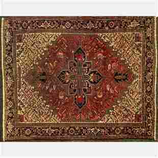 Antique Persian Heriz Wool Rug
