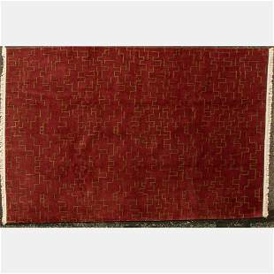 Hand Knotted Nepalese Modernist Wool Rug