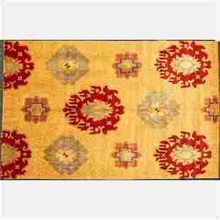 Sino Turkih Oushak Silk and Wool Rug
