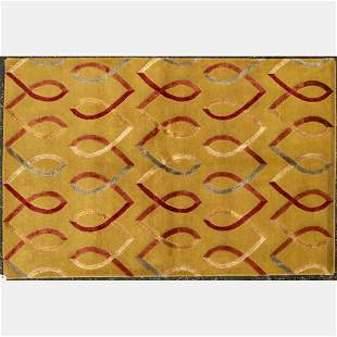 Indo Silk and Wool Art Deco Style Rug