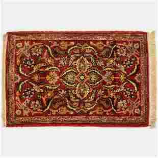 Fine Persian Kashan Pictorial Wool Rug