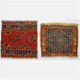Two Antique Caucasian Kazak Soumak Kilim Wool Rug