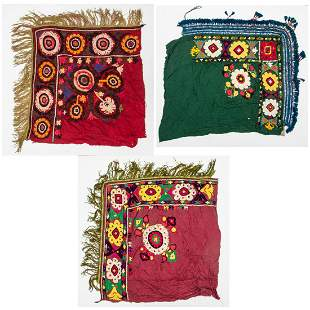 Three Antique Uzbek Suzani Embroideries