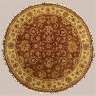 Indo Persian Tabriz Round Wool Rug
