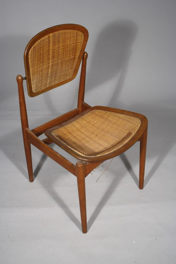 15: A 20th Century Arne Vodder Teak and Caned Side Chai