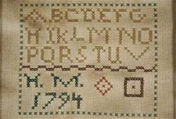 97: An Embroidered Sampler, dated 1794, Initialled H.M.