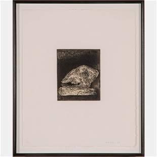 John Walker (British, b.1939) Skull on Book, Etching,