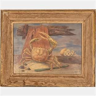 Paul Riba (American, 1912-1977) Sea Crab, Oil on board,