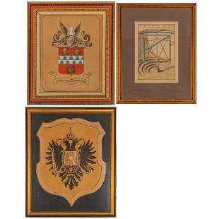 A Group of Three Continental Colored Etchings and Ink