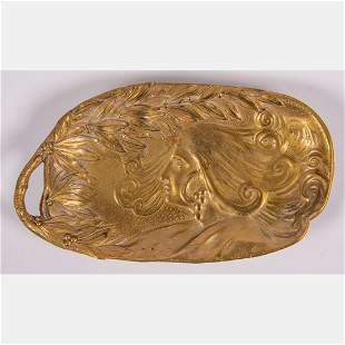 An Austrian Art Nouveau Gilt Bronze Vide Poche,