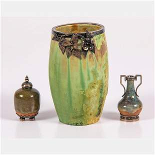 A Group of Three Small French Vases with Silver Mounts,