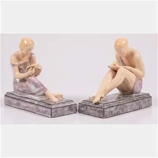 A Pair of Pierre Le Faquays (1892-1962) Porcelain Art