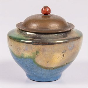 A Pewabic Pottery Bowl with Copper & Agate Lid, Early