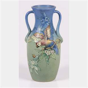 A Large Weller Hudson Double Handled Vase Signed by