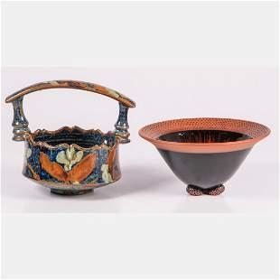 A David Batz Studio Pottery Bowl with Handle,