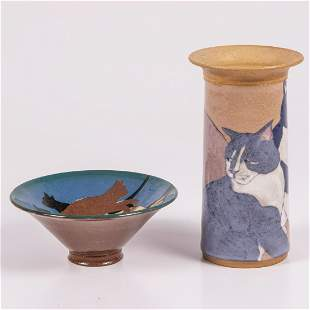 A Cat Themed Studio Pottery Bowl and Vase, 20th