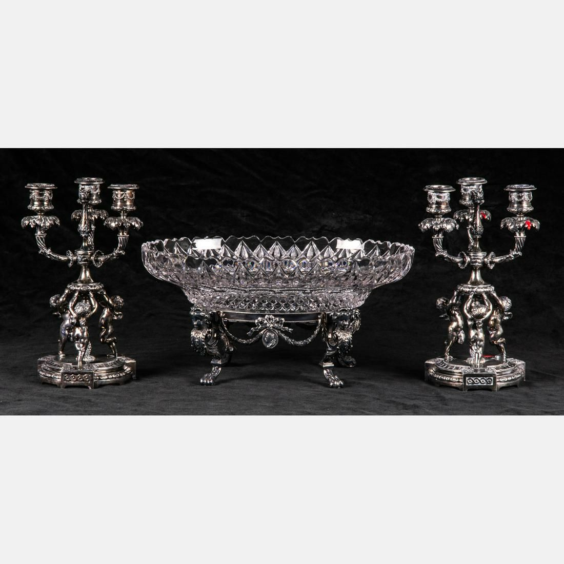 A Pairpoint Silver Plated and Cut Crystal Three Piece