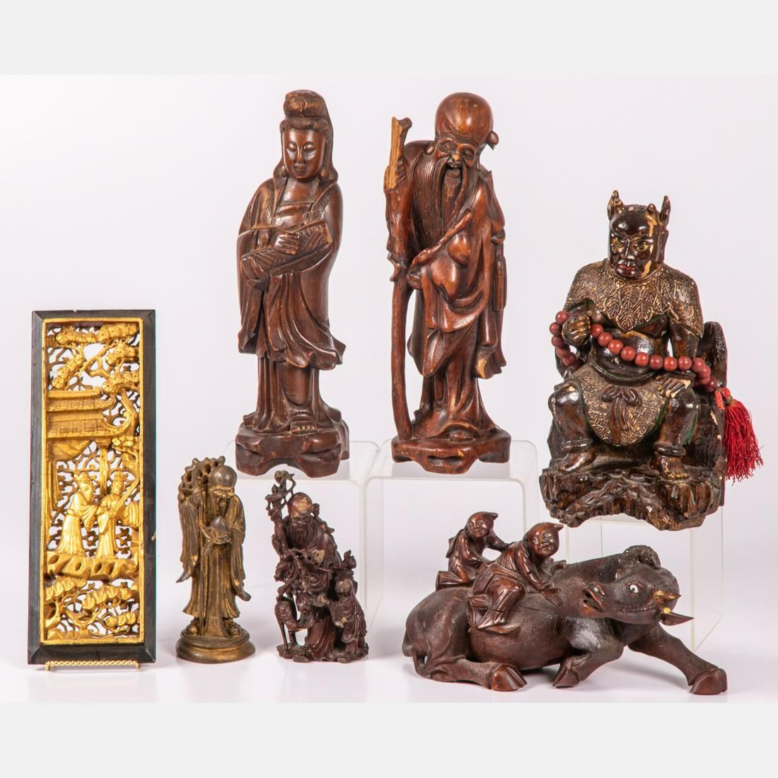 A Collection of Chinese Carved Hardwood and Composite