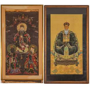 Two Chinese Ink and Gouache Paintings, 20th Century