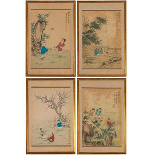 A Group of Four Chinese Ink and Gouache Paintings, 20th