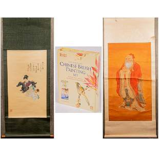 Two Chinese Painted Scrolls on Silk and Paper, 20th
