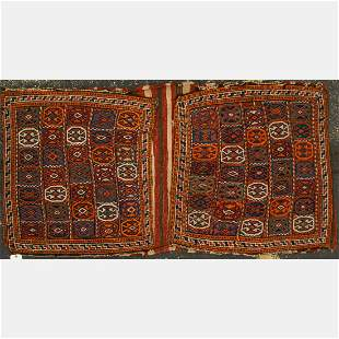 An Antique Caucasian Kazak Soumak Wool Saddle Bag, ca.