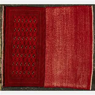 A Persian Turkoman Poshti Wool Rug, 20th Century.