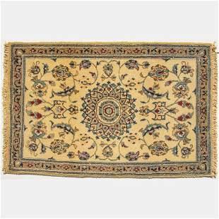 A Persian Nain Silk Blend Rug, 21st Century.