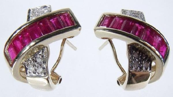 9: A Pair of 14 kt Yellow Gold, Diamond and Ruby Overpa