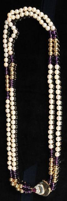 11: A Diamond, Amethyst, Gold and Akoya Pearl Double St