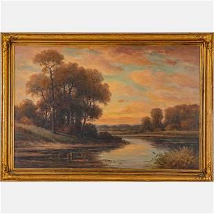 Howard Atkinson (20th Century) River Landscape, Oil on
