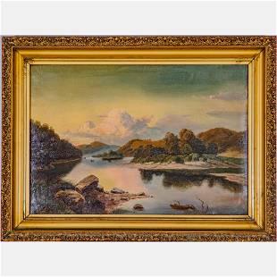 Artist Unknown (19th Century) River Landscape, Oil on