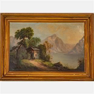 Artist Unknown (19th Century) Alpine Scene with Cottage
