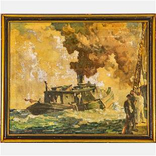 Frank Nelson Wilcox (1887-1964) Fish Tug on Lake Erie,