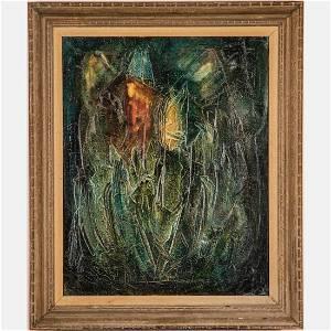 Zvi Raphaeli (Israeli, 1924-2005) Synagogue, Oil on