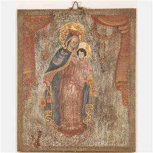 A Cuzco School Oil on Wood Panel Depicting Madonna and