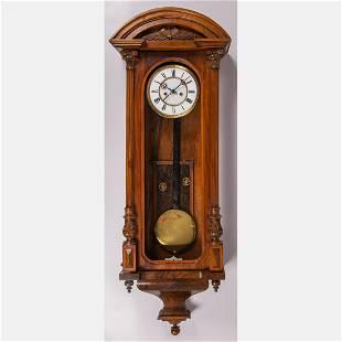 An Austrian Walnut Wall Regulator Clock, 19th Century.