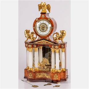 A Biedermeier Automaton Music Box Mantel Clock by