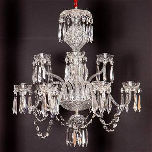 A Waterford Crystal Nine Light Chandelier, 20th