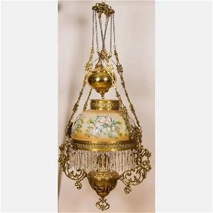 An American Brass and Painted Milk Glass Hanging Oil