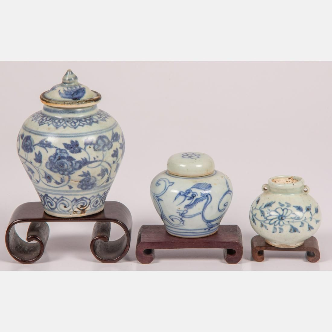 A Group of Diminutive Chine Blue and White Porcelain