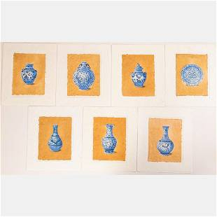A Group of Seven Asian Watercolor Gouache Studies of