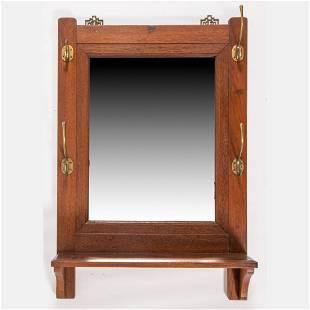 An Oak Mirror Coat Rack with Bracket Shelf and Brass